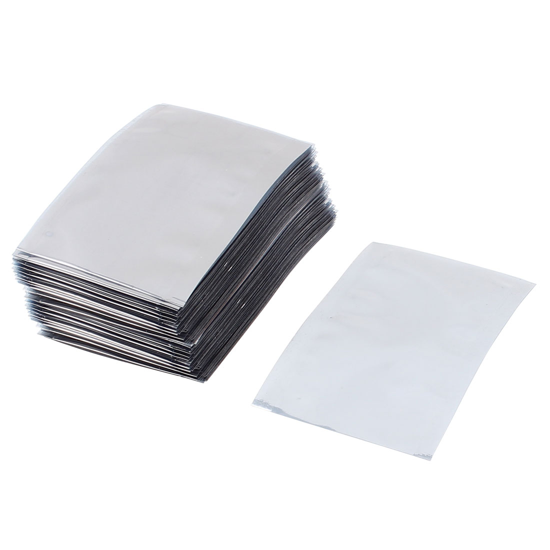 100 Pcs 50mm x 80mm Silver Tone Flat Open Top Anti Static Bag For Electronics