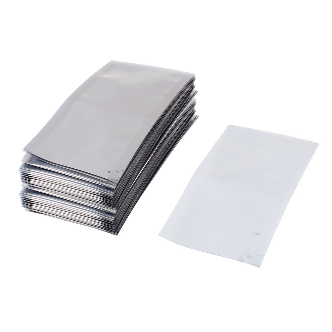 100 Pcs 50mm x 100mm Silver Tone Flat Open Top Anti Static Bag For Electronics