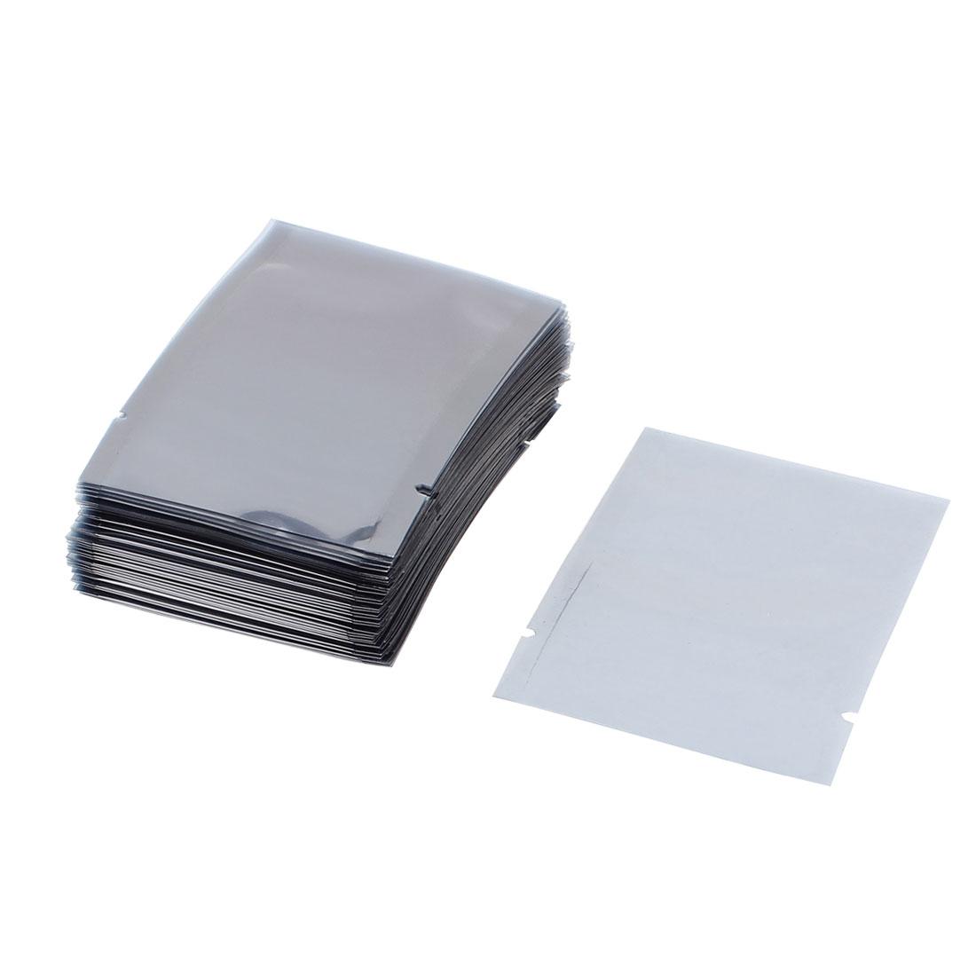 100 Pcs 60mm x 80mm Silver Tone Flat Open Top Anti Static Bag For Electronics