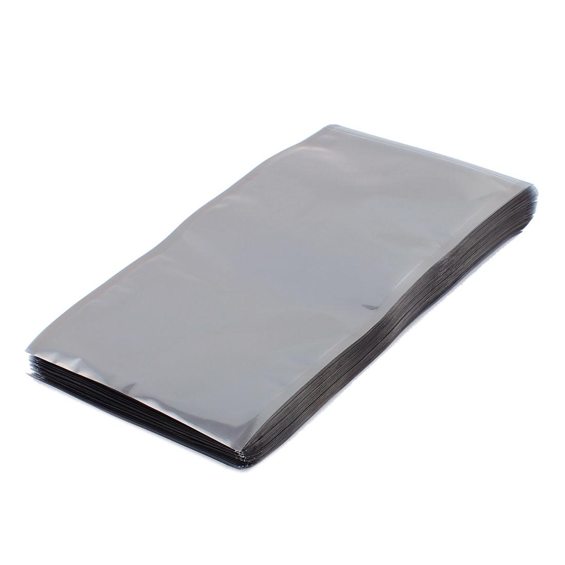 100 Pcs 110mm x 200mm Silver Tone Flat Open Top Anti Static Bag For Electronics