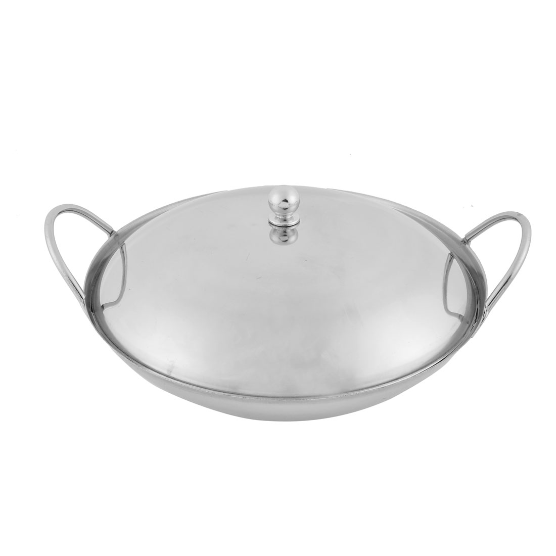 Home Restaurant Stainless Steel Chafing Dish Pot Silver Tone 21cm Diameter w Lid Cover