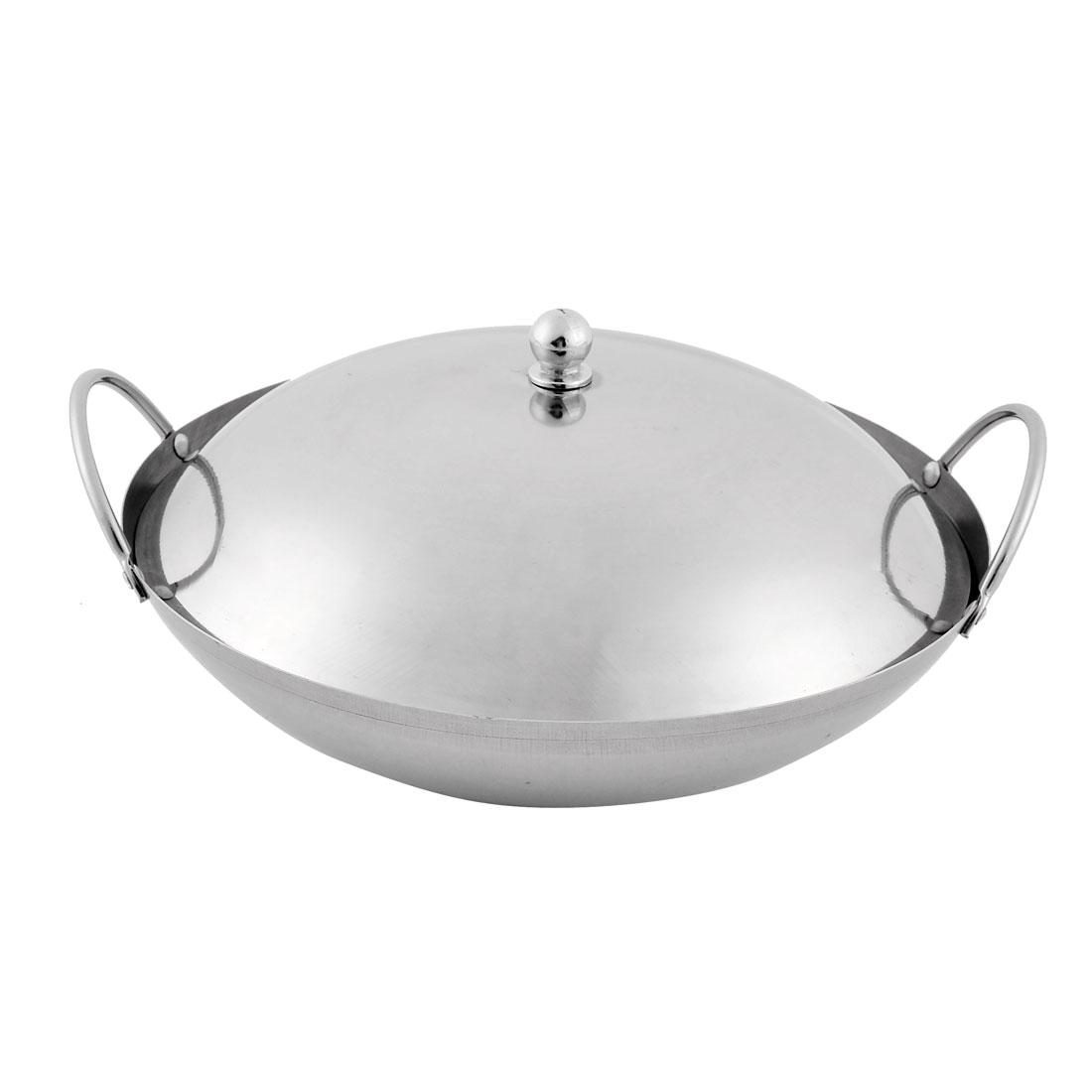 Home Restaurant Stainless Steel Chafing Dish Pot Silver Tone 22cm Diameter w Lid Cover