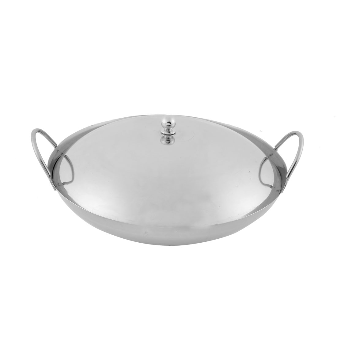 Home Restaurant Stainless Steel Chafing Dish Pot Silver Tone 25cm Diameter w Lid Cover