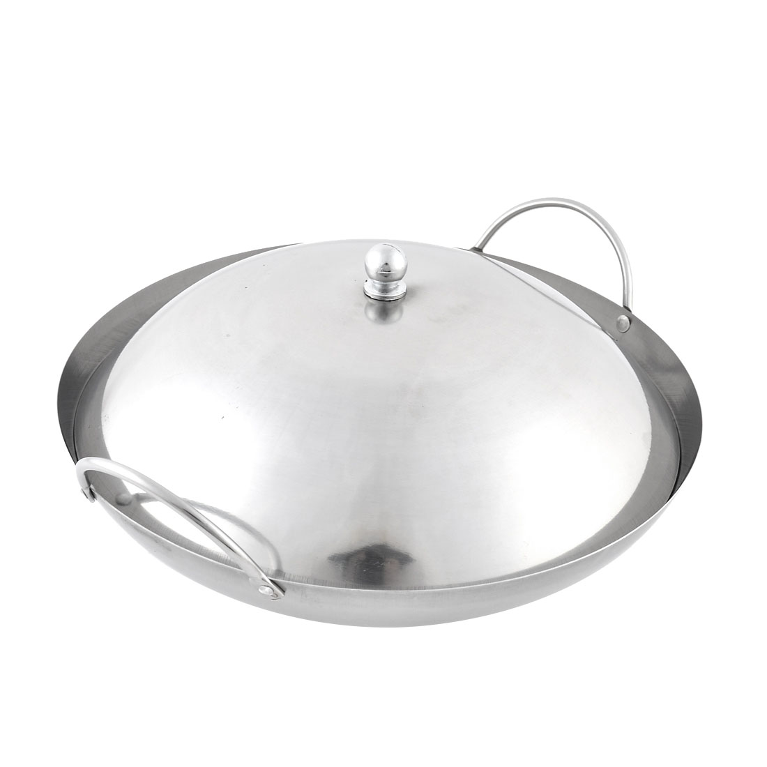 Home Restaurant Stainless Steel Chafing Dish Pot Silver Tone 24cm Diameter w Lid Cover