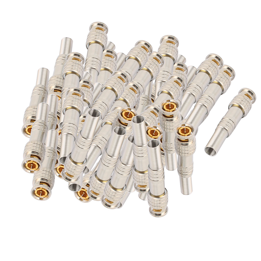50 Pcs Spring Gold-plated BNC Male Connector for CCTV Camera Coaxial Cable