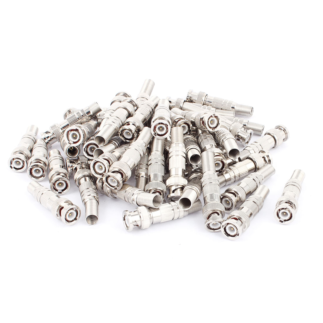 50Pcs Twist Spring Copper-plated BNC Male Adapter Connector for CCTV Camera