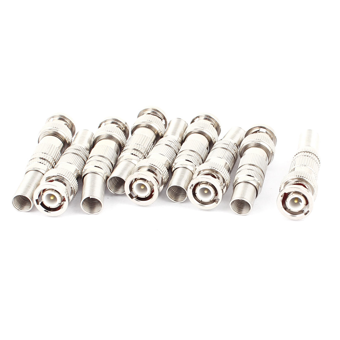 10Pcs Twist Spring Copper-plated BNC Male Adapter Connector for CCTV Camera