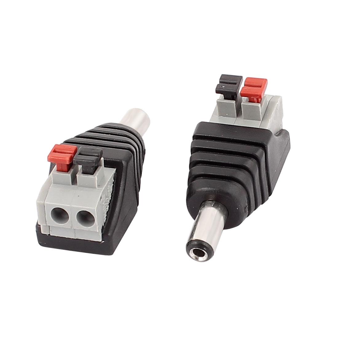 2Pcs CCTV Camera Clip Type Terminal Block 2.1x5.5mm DC Power Male Jack