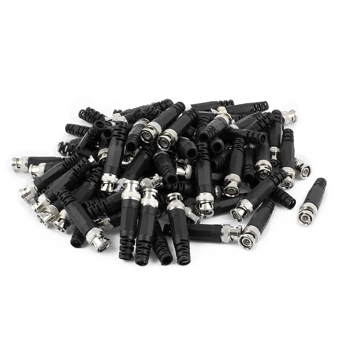 100Pcs Plastic Tail BNC Male Straight Connector for CCTV Camera Coaxial Cable