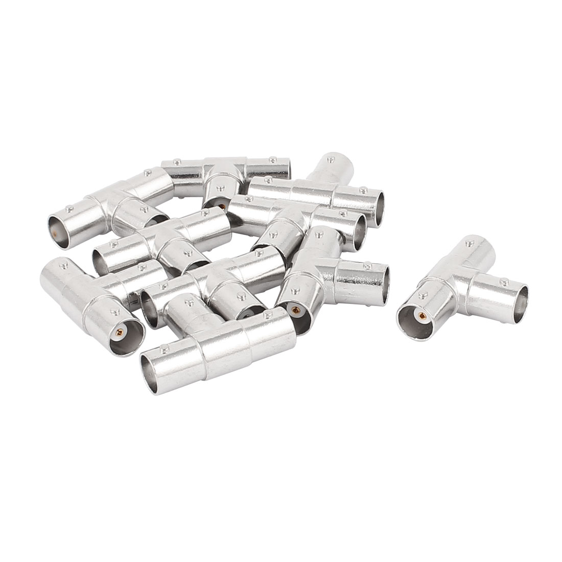 10Pcs BNC Female to Double BNC Female T Shape Adapter Connector Silver Tone