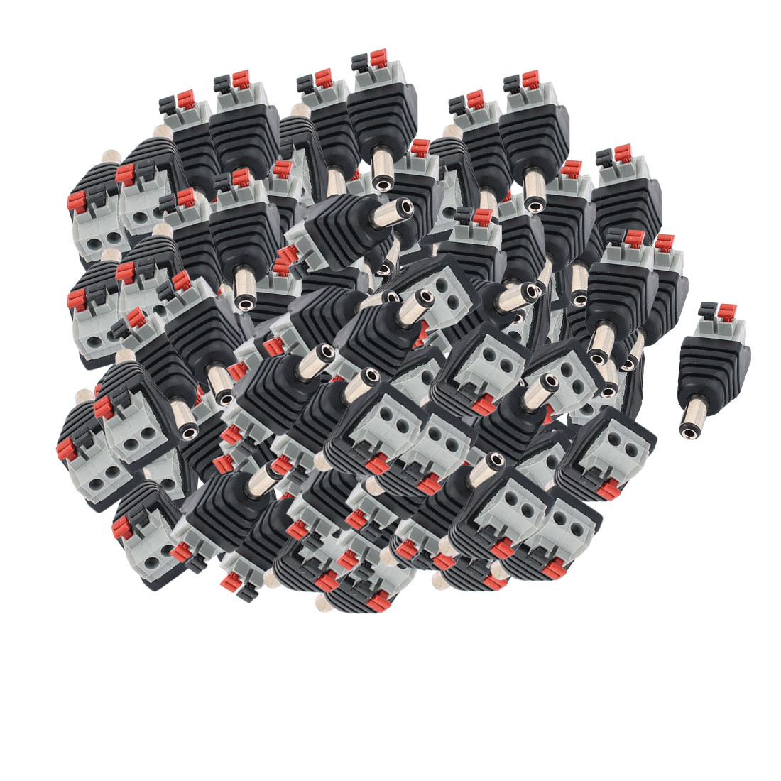 100Pcs CCTV Camera Clip Type Terminal Block 2.1x5.5mm DC Power Male Jack Connector