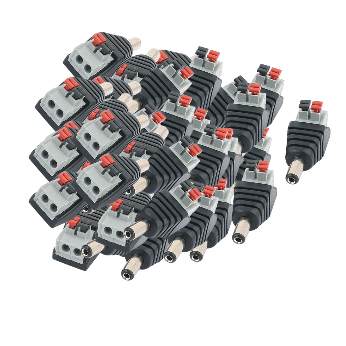 50Pcs CCTV Camera Clip Type Terminal Block 2.1x5.5mm DC Power Male Jack Connector