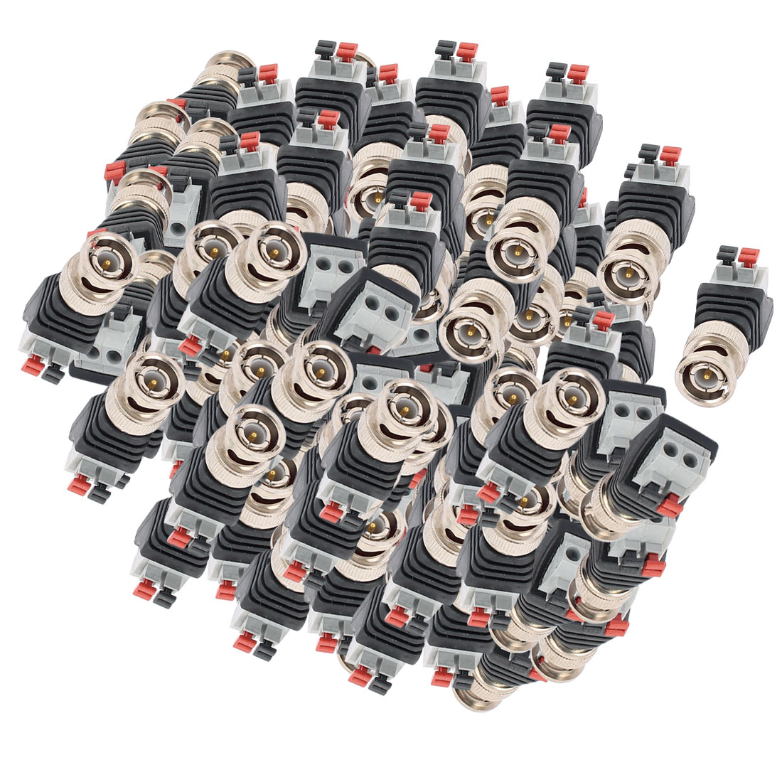 100 Pcs Clip Type Terminal Block Coaxial Cat5 to BNC Male Jack Video Balun Connector