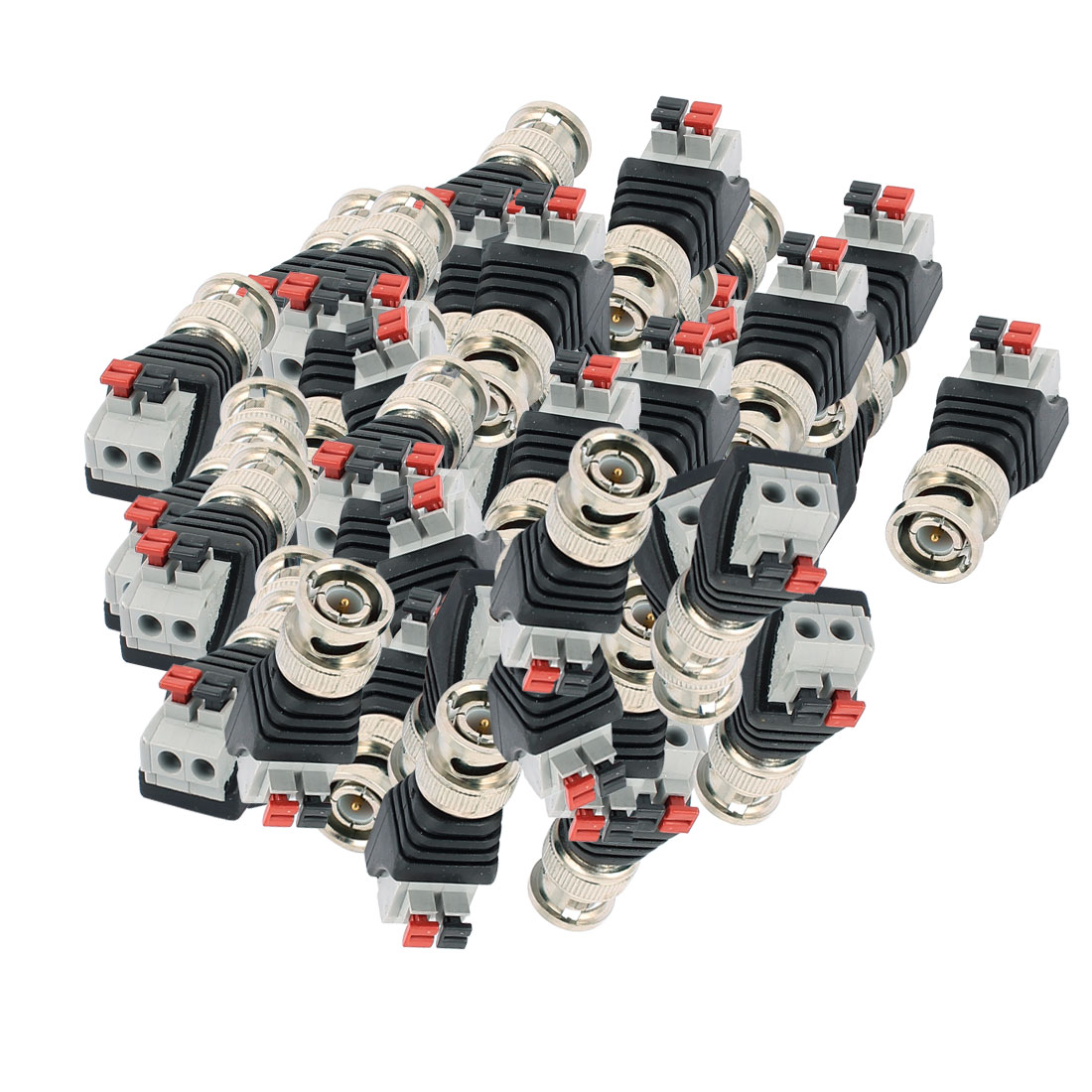 50 Pcs Clip Type Terminal Block Coaxial Cat5 to BNC Male Jack Video Balun Connector