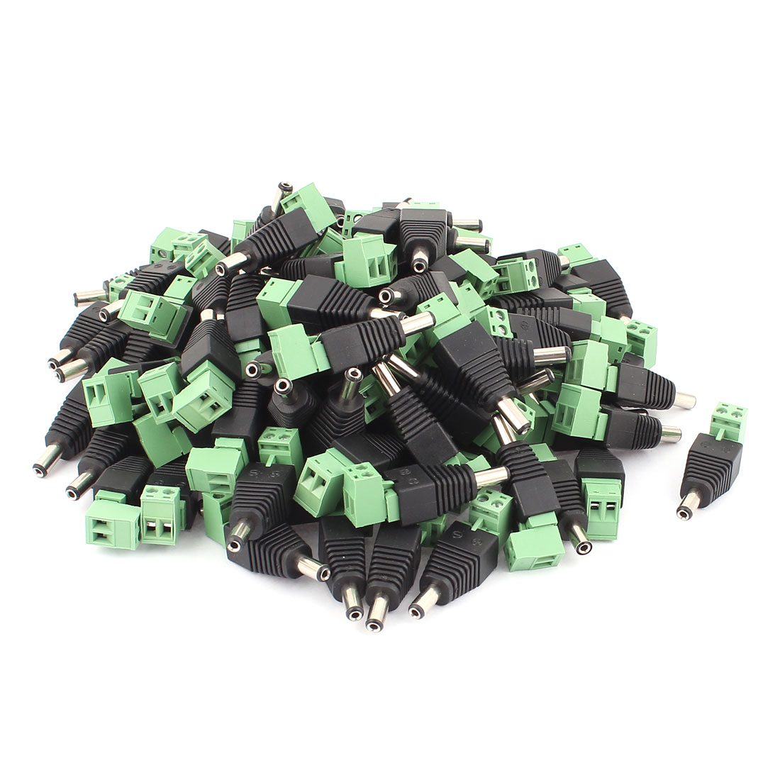 100Pcs CCTV Camera Terminal Block 2.1x5.5mm DC Power Male Jack Socket Connector