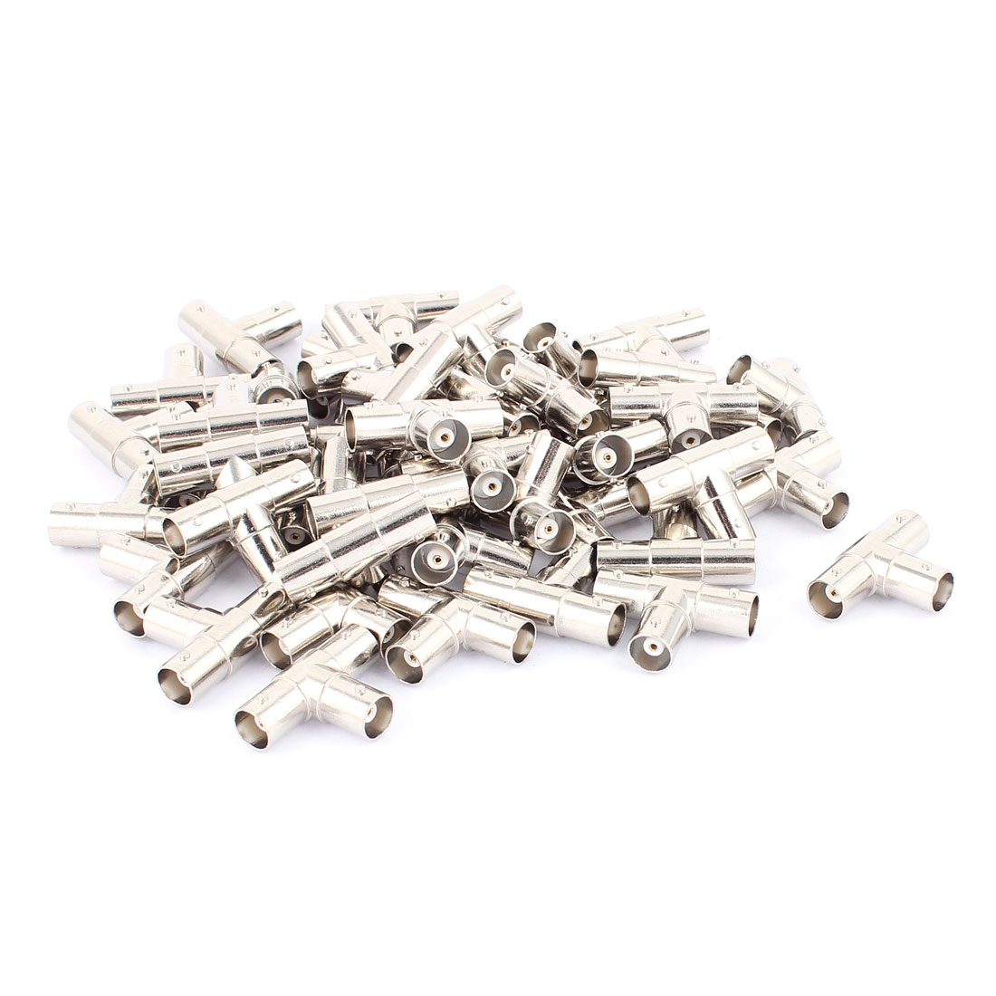 50Pcs BNC Female to Double BNC Female T Shape Adapter Connector Silver Tone