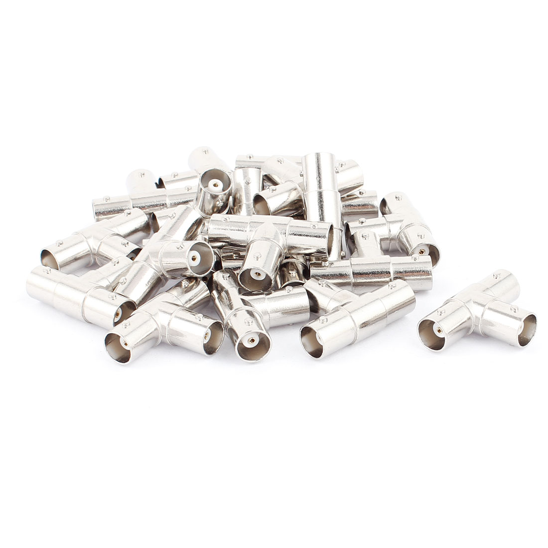 20Pcs BNC Female to Double BNC Female T Shape Adapter Connector Silver Tone