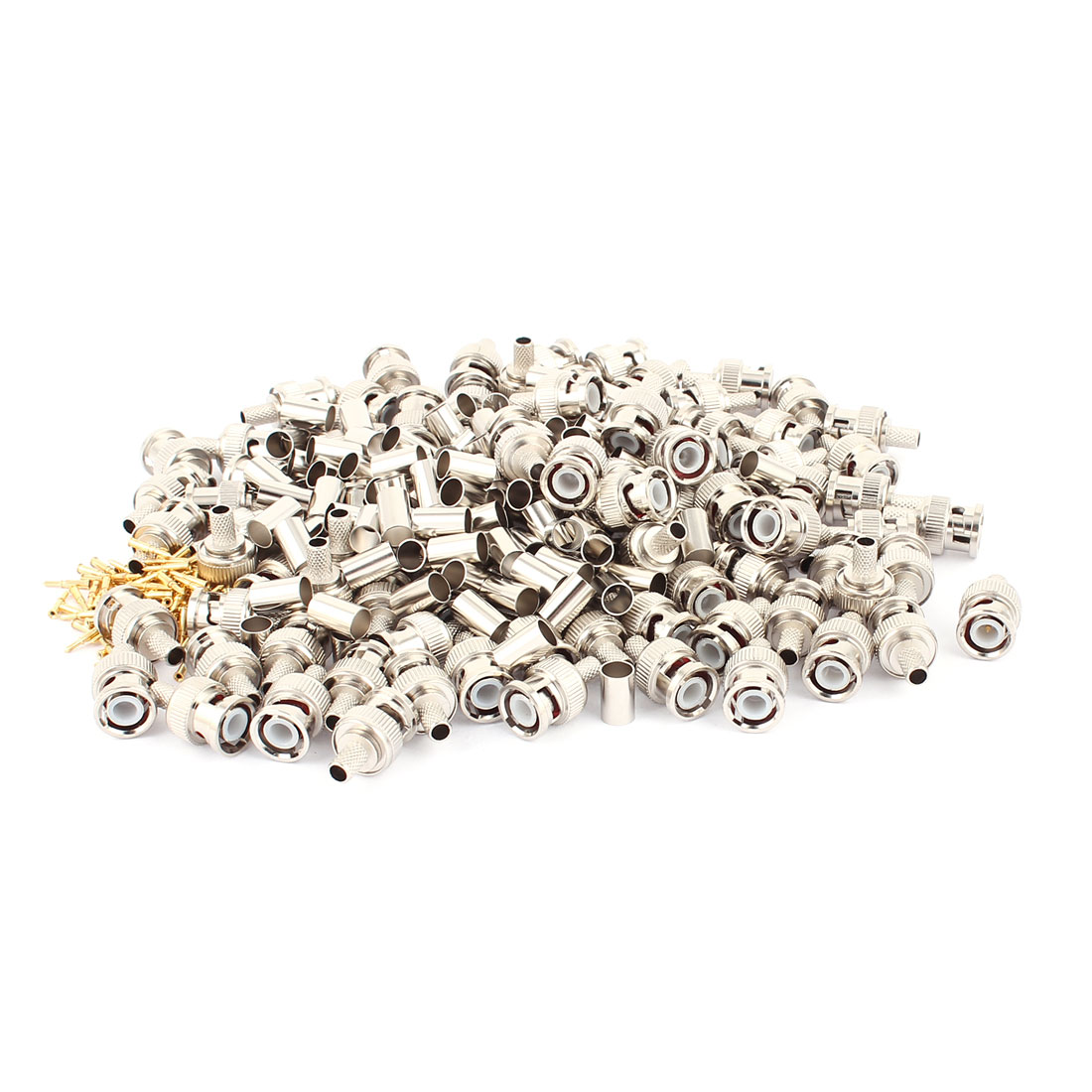 100Pcs BNC Female Nut Straight Coax Coaxial Adapter RF Connector Silver Tone
