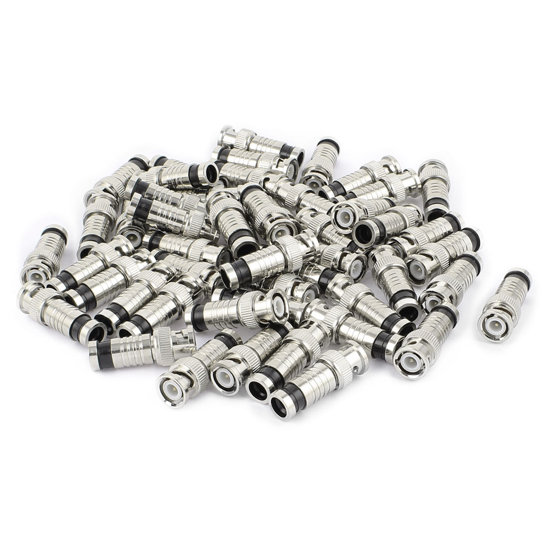 50 Pcs BNC Male Compression Connector Adapter RG6 Security Coaxial Cable CCTV Camera