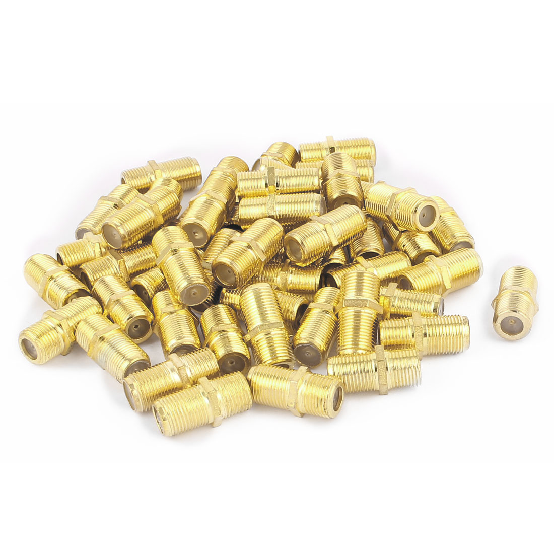 50Pcs Gold Plated F Type Female to Female Straight RF Coax TV Adapter Connectors