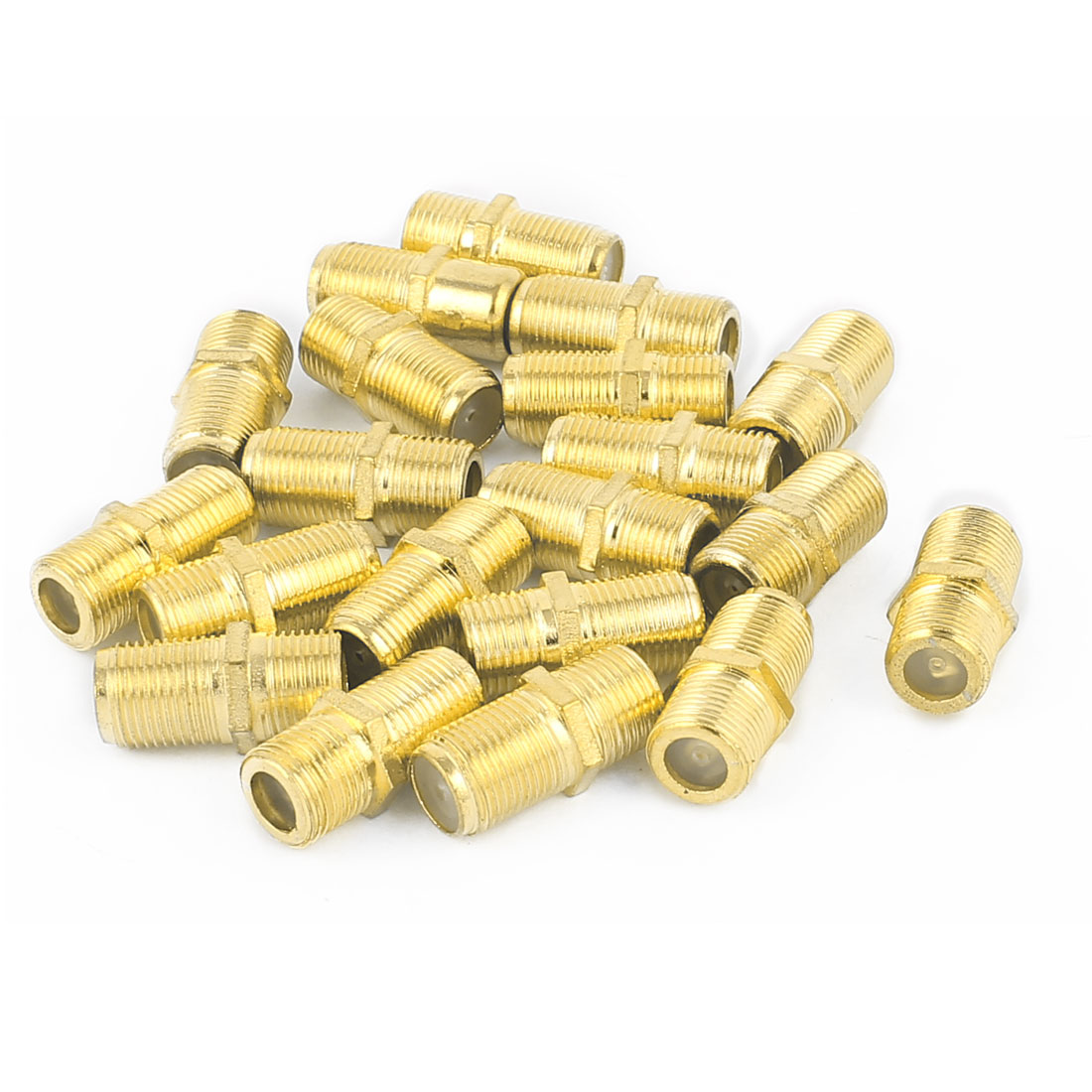 20Pcs Gold Plated F Type Female to Female Straight RF Coax TV Adapter Connectors
