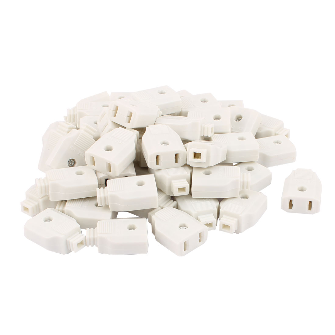 50 Pcs 2Pin Power Adapter Female Rewirable Connector Socket White