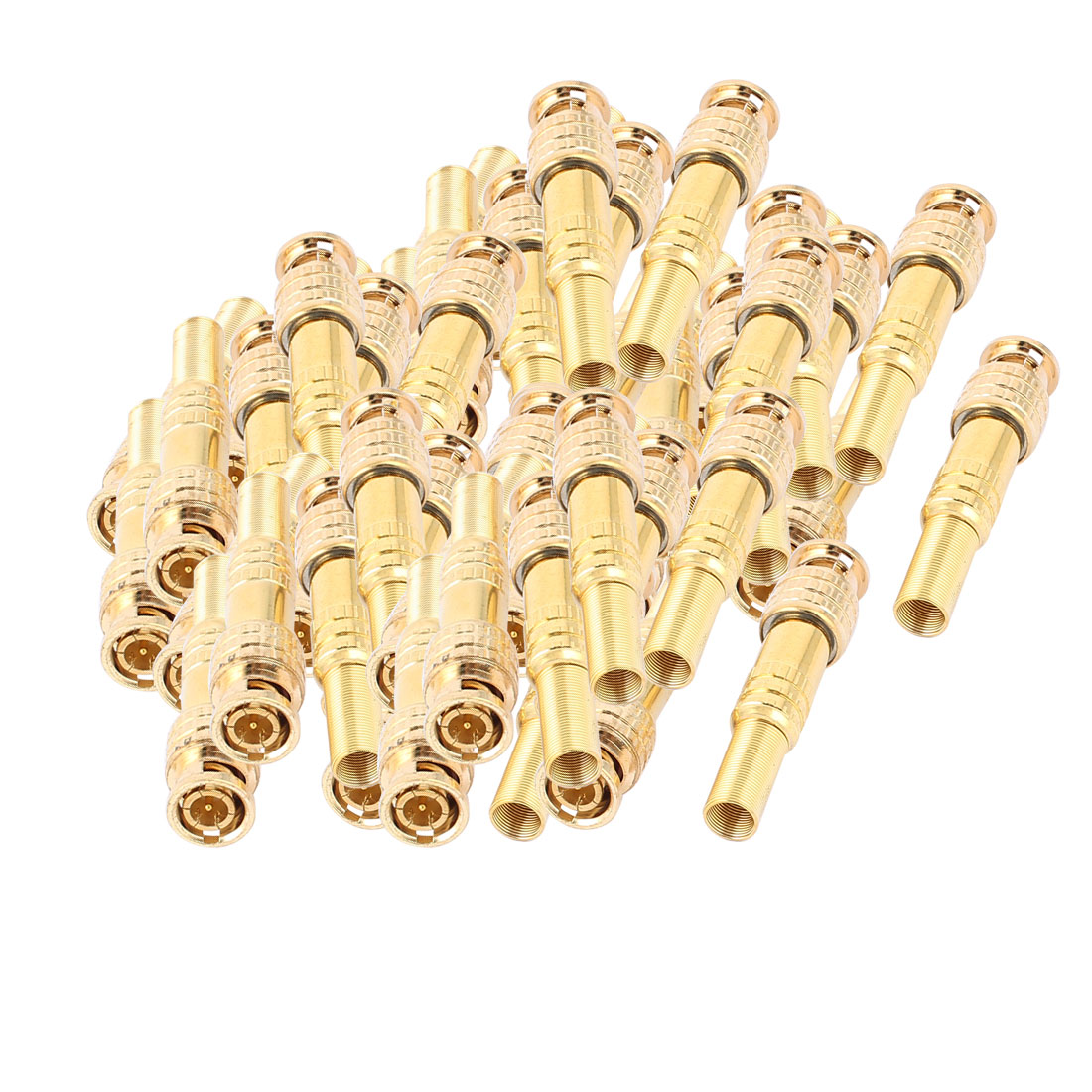 50 Pcs Twist Spring Gold-plated BNC Male Adapter Connector for CCTV Camera