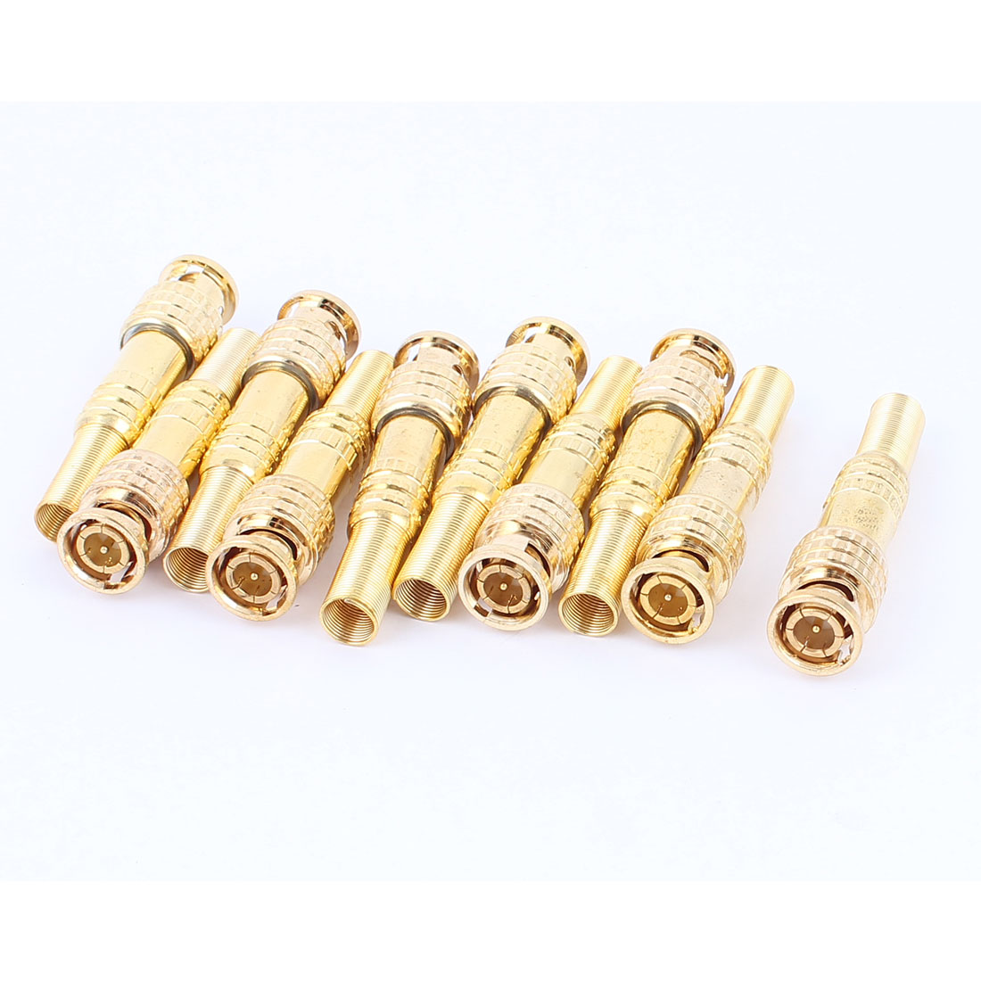 10 Pcs Twist Spring Gold-plated BNC Male Adapter Connector for CCTV Camera