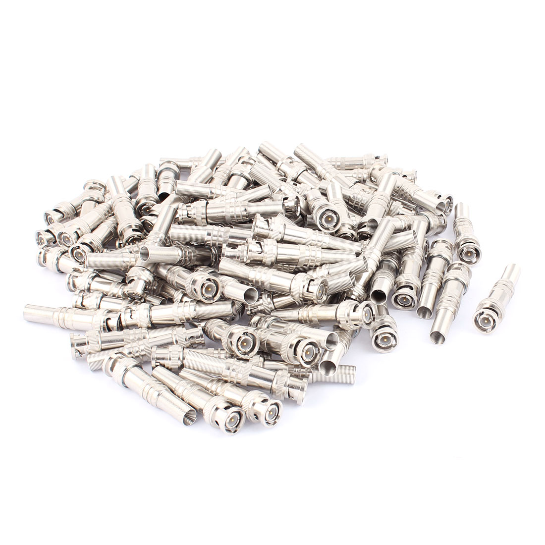 100 Pcs Spring Copper-plated BNC Male Connector for CCTV Camera Coaxial Cable