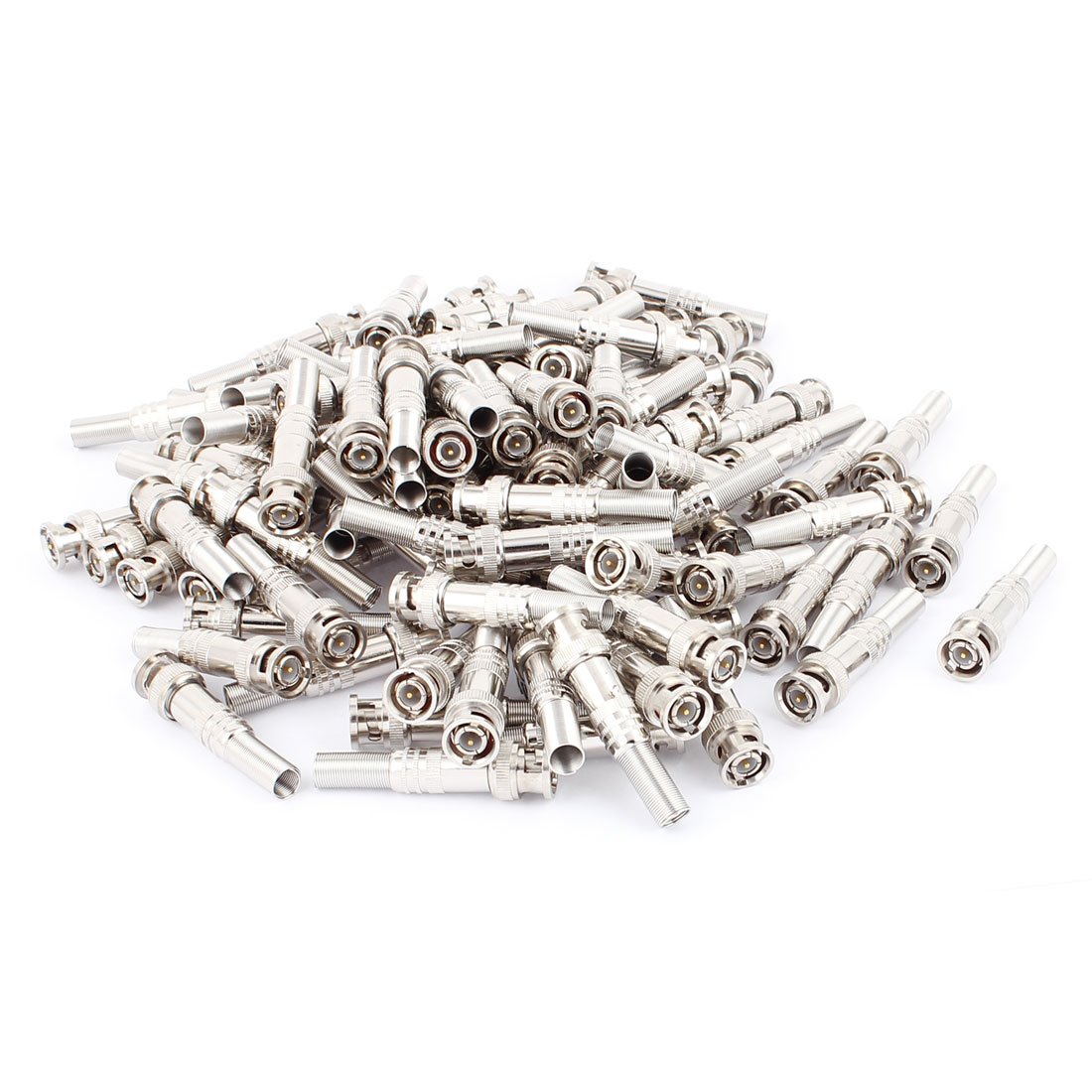 100Pcs Spring Copper-plated BNC Male Solder Adapter Connector for CCTV Camera