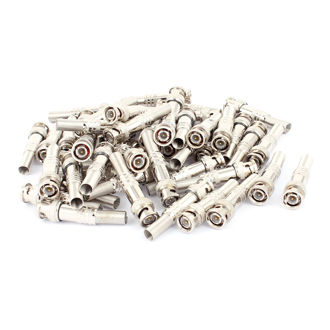 50Pcs Spring Copper-plated BNC Male Solder Adapter Connector for CCTV Camera