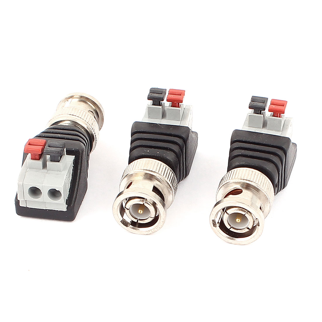 3 Pcs Clip Type Terminal Block Coaxial Cat5 to BNC Female Jack Video Balun Connector