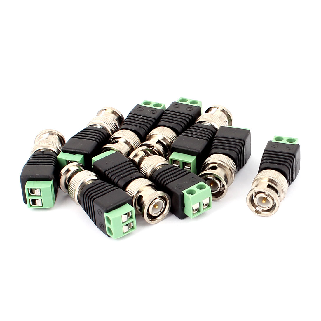 10 Pcs Screw Terminal Coaxial Cat5 to BNC Male Jack Video Balun Connector