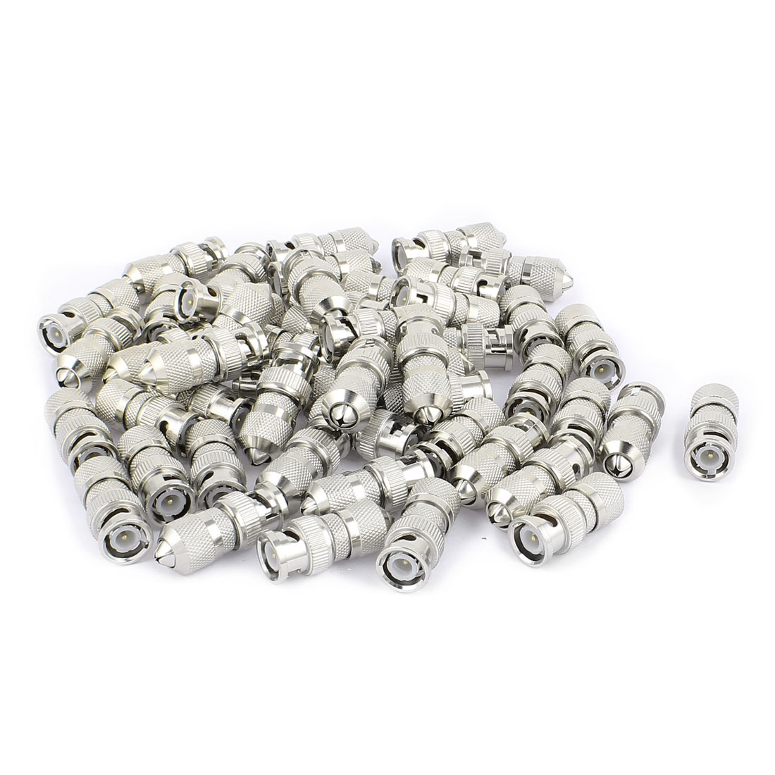 50 Pcs Silver Tone Metal BNC Male Connector Adapter for CCTV Camera