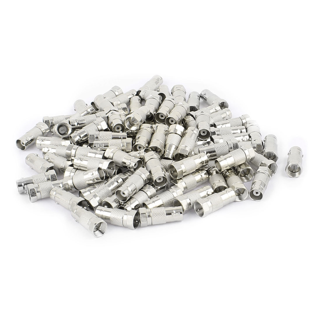 100 Pcs F Type Male to Female Straight RF Coax TV Adapter Connectors Silver Tone