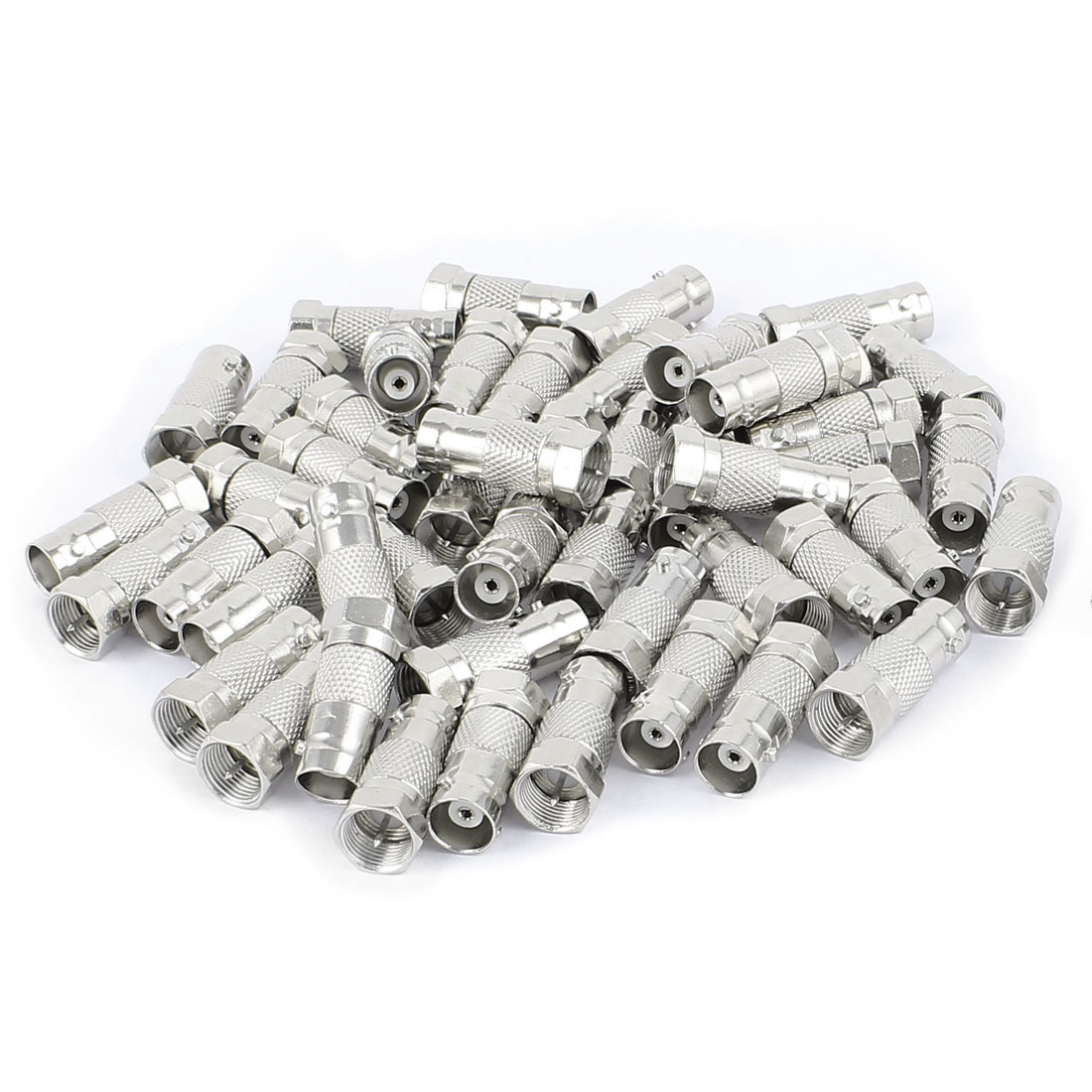 50 Pcs F Type Male to Female Straight RF Coax TV Adapter Connectors Silver Tone
