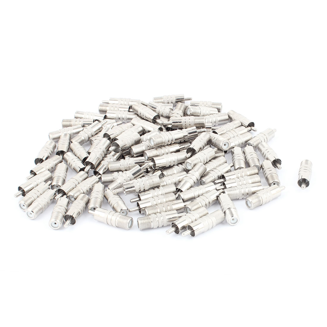 100 Pcs F-Type Female to RCA Male RF Adapter Connector Coax Jack Silver Tone