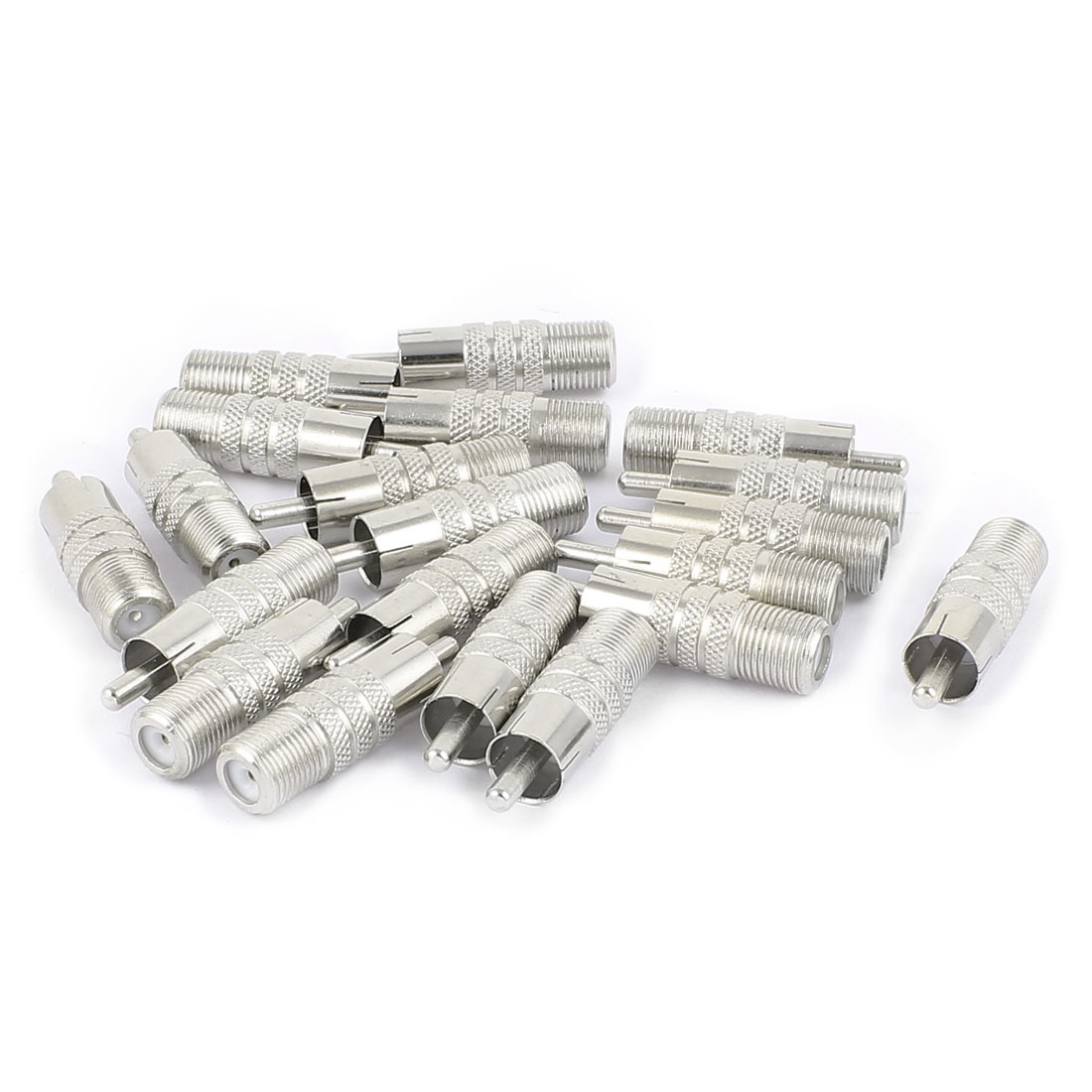 20 Pcs F-Type Female to RCA Male RF Adapter Connector Coax Jack Silver Tone