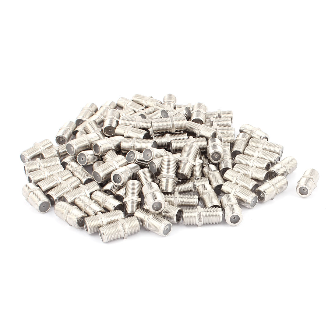 100 Pcs F Type Female to Female Straight RF Coax TV Adapter Connectors Silver Tone