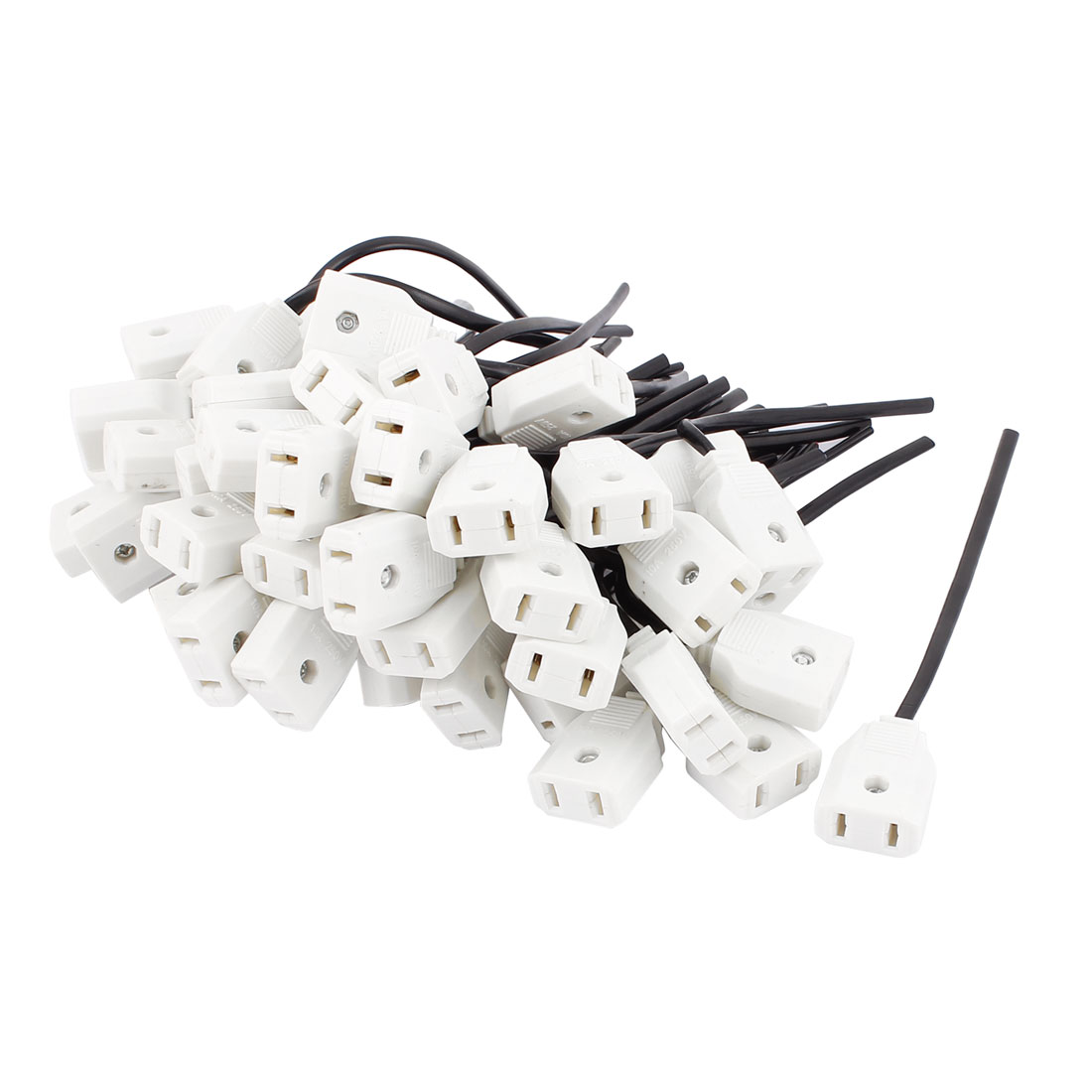 50Pcs 2Pin Power Adapter Female Rewirable Connector Socket Wire Length 14CM