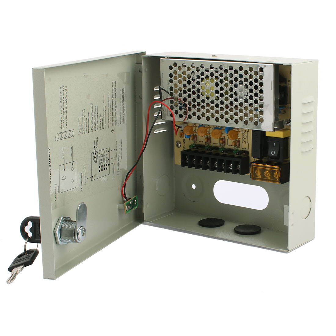 AC 100-240V to DC 12V 5A 4 CH Switching Power Supply Switch Box for CCTV Camera