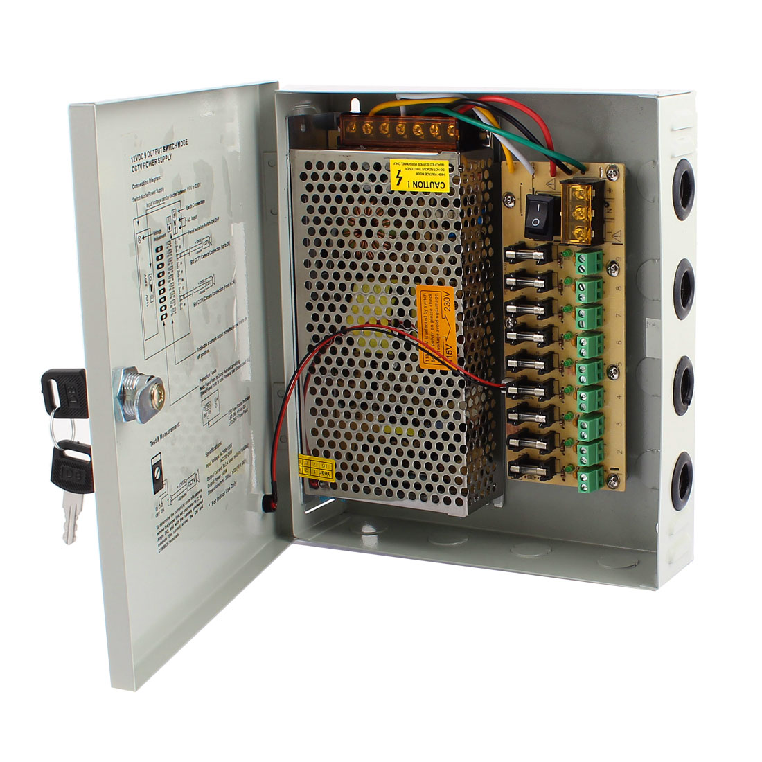 AC 100-220V to DC 12V 5A 9CH Switching Power Supply Switch Box for CCTV Camera