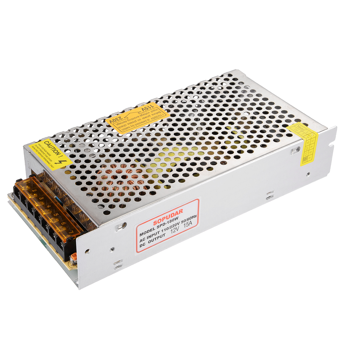 AC 110/220V to DC 12V 15A 180W Switching Power Supply Driver SPD-180W for LED Strip
