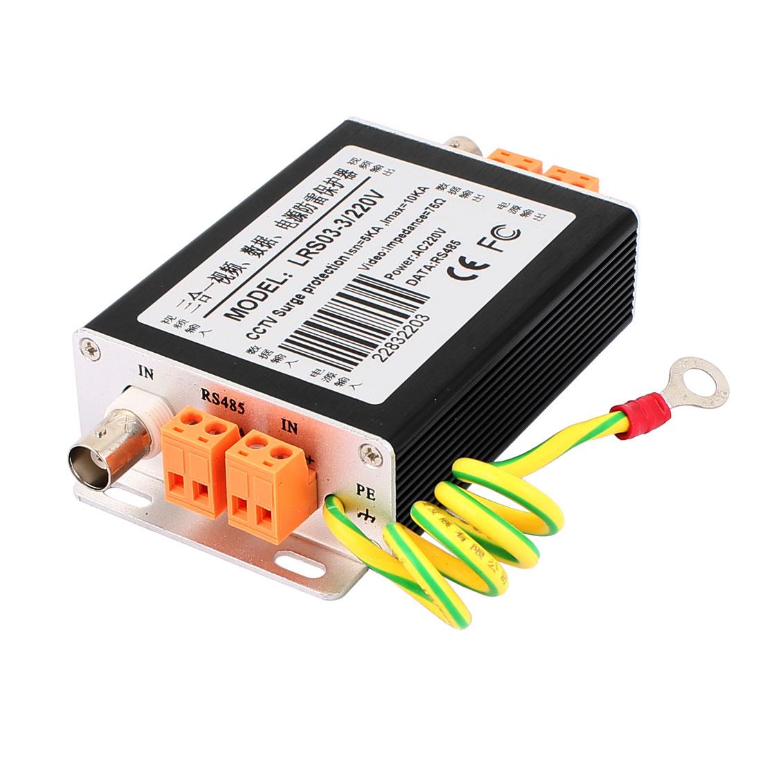 3 In 1 AC220V Signal Lightning Arrester Power Surge Protection Black LRS03-3/220V