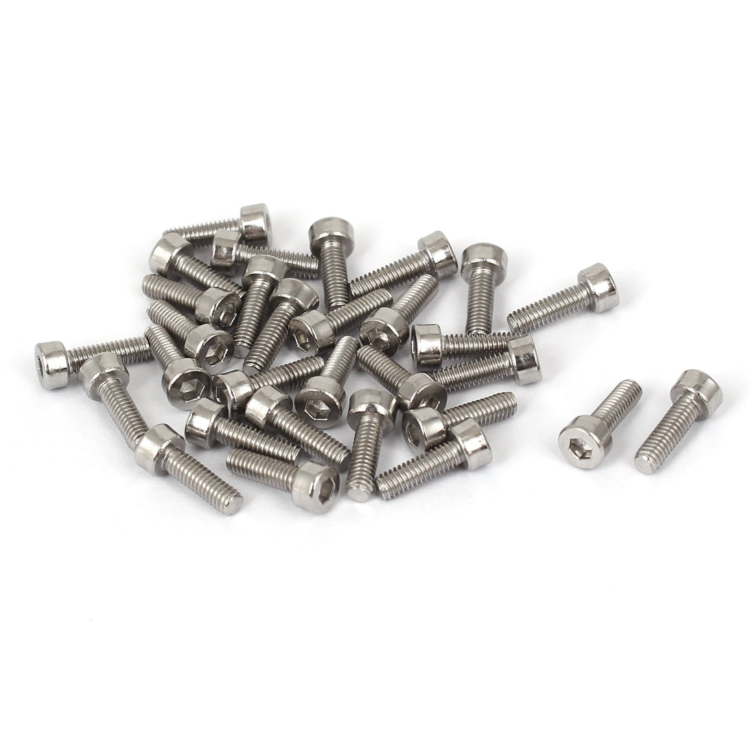 30 Pcs M2.5x8mm 316 Stainless Steel Metric Hex Socket Cap Screws 10.5mm Length