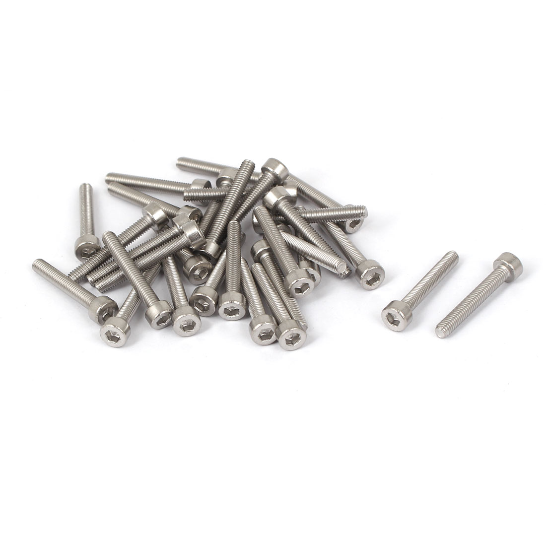 30 Pcs M3x20mm 316 Stainless Steel Metric Silver Tone Hex Socket Cap Fasteners