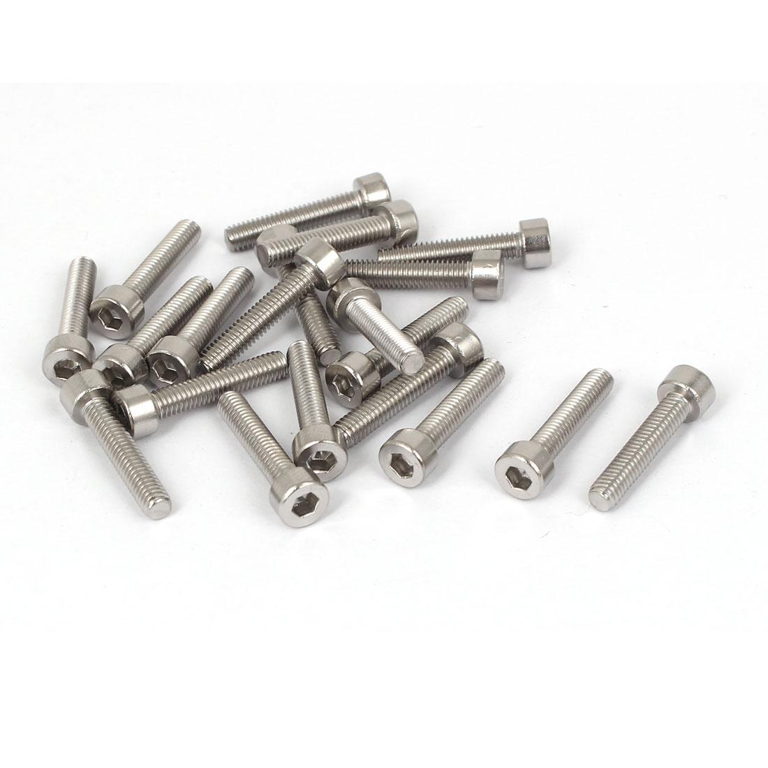 20 Pcs M4x20mm 316 Stainless Steel Metric Hex Socket Head Cap Screws Fasteners