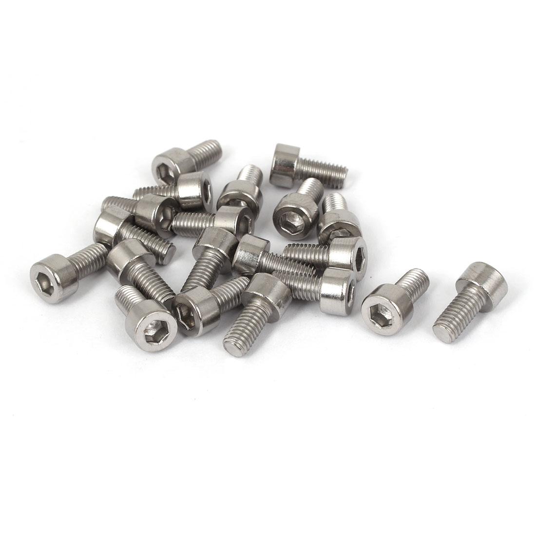 20 Pcs M5x10mm 316 Stainless Steel Metric Hex Socket Head Cap Screws 15mm Length