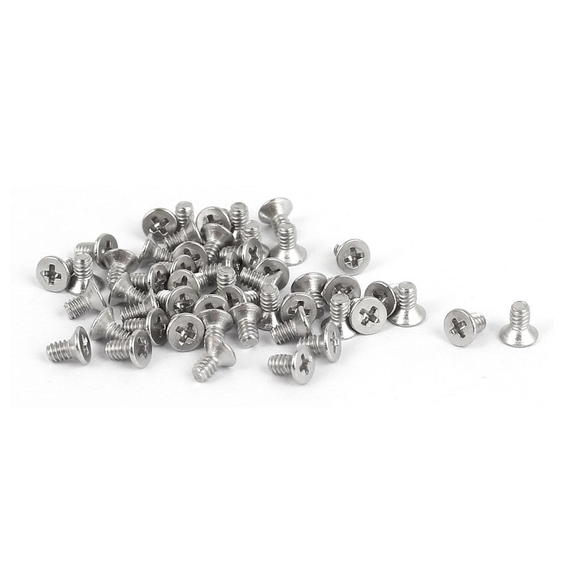 50 Pcs M1.6x3mm 316 Stainless Steel Flat Head Phillips Machine Screws Fasteners