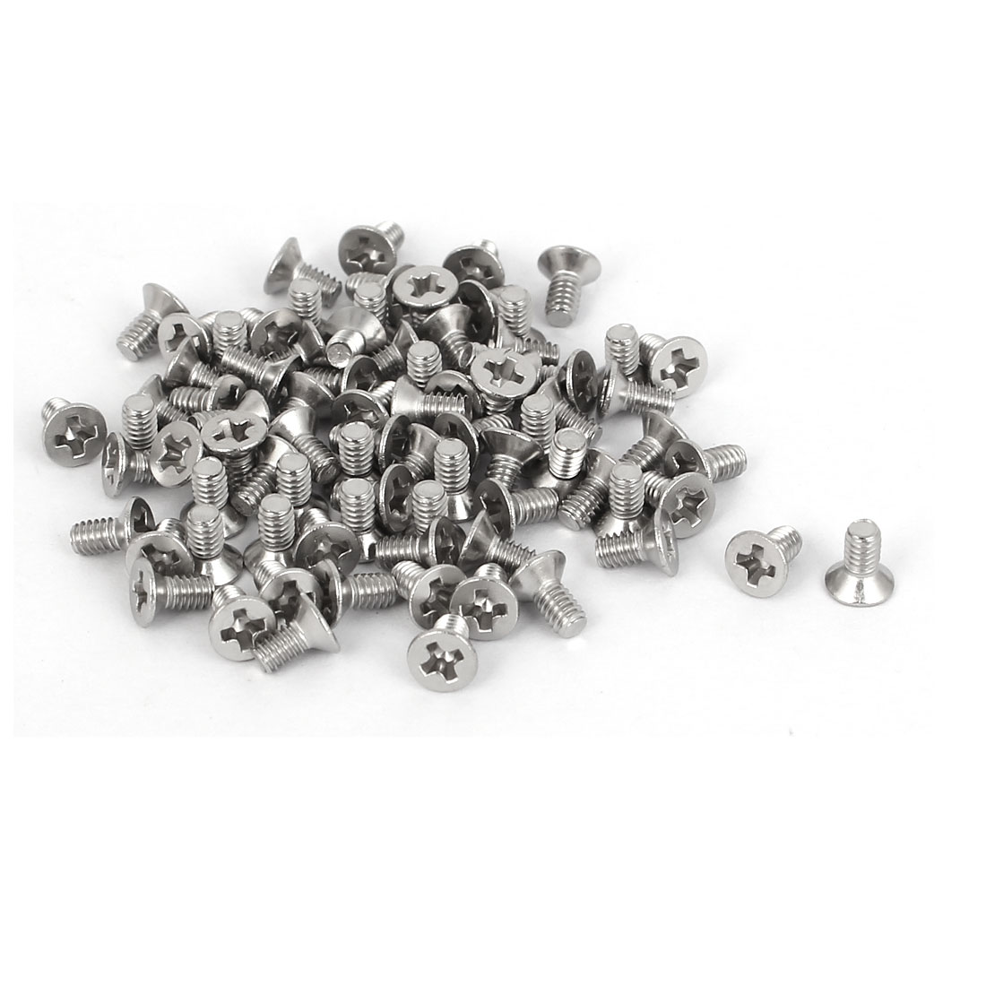 80 Pcs M2x4mm 316 Stainless Steel Flat Head Phillips Machine Screws Bolts